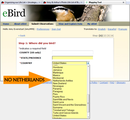 eBird country selection dropdown list